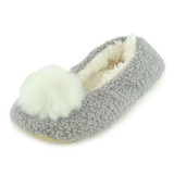 Ladies Grey Boucle Fleece Sherpa Lined Pom Pom Ballerina Slippers