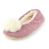 Ladies Pink Boucle Sherpa Lined Pompom Ballerina Slippers