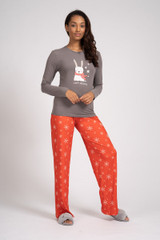Ladies Grey & Red Hoppy Holiday Bunny Long Pyjama Set