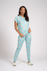 Ladies Holiday Santa Aqua Jersey T-Shirt & Leggings Pyjama Set