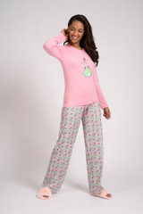 Ladies Pink & Grey Misle-Toad Design Long Pyjama Set