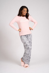 Ladies Pink & Leopard Spot the Difference Long Pyjama Set