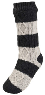 Mens Fleece Lined Cable Knit Charcoal & Cream Striped Slipper Socks
