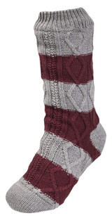 Mens Fleece Lined Cable Knit Maroon & Grey Striped Slipper Socks