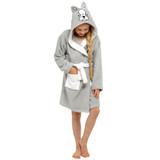 Girls French Bulldog Novelty Hood Cotton Towelling Bath Robe