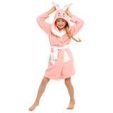 Girls Pink Bunny Novelty Hood Cotton Towelling Bath Robe