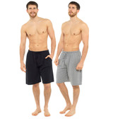 Mens Grey & Black Twin Pack Cotton Jersey Lounge Shorts