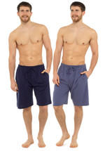 Mens Navy & Blue Twin Pack Cotton Jersey Lounge Shorts