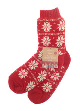 Unisex Red Nordic Snowflake Fur Lined Slipper Socks