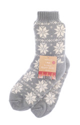 Unisex Grey Nordic Snowflake Fur Lined Slipper Socks