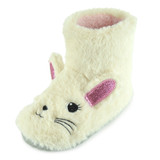 Girls Sparkle Bunny Cream Faux Fur Slipper Boots