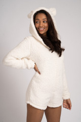 Ladies Cream Snuggly Sherpa Fleece Teddy Ear Shortie Romper