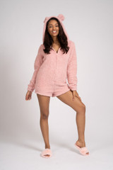 Ladies Pink Snuggly Sherpa Fleece Teddy Ear Shortie Romper