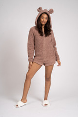 Ladies Taupe Snuggly Sherpa Fleece Teddy Ear Shortie Romper