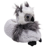 Ladies / Older Girls Grey Owl Metallic Waffle Fur 3D Novelty Slippers