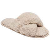 Ladies Cream Chunky Borg Fleece Cross Strap Slide Slippers