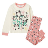 Girls Panda Time Cute Cream & Pink Long Pyjamas