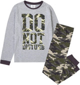 Boys Do Not Disturb Grey & Camo Print Long Pyjamas