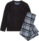 Boys Black & Grey Tartan Check Bottoms Fleece Long Pyjamas