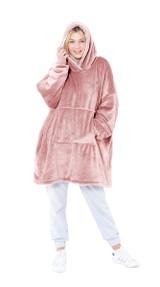 Pink Fleece Oversized Reversible Sherpa Hoodie Poncho