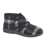 Jo & Joe Mens Cecil Navy Checked Touch & Close Bootee Slippers