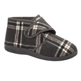 Jo & Joe Mens Cecil Grey Checked Touch & Close Bootee Slippers