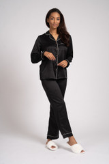 Ladies Luxury Plain Black Satin Piped Traditional Long Pyjamas