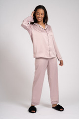 Ladies Luxury Plain Mink Satin Piped Traditional Long Pyjamas
