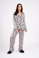 Ladies Luxury Blush Leopard Print Satin Traditional Long Pyjamas