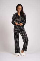 Ladies Luxury Black & White Spots Satin Traditional Long Pyjamas