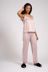 Ladies Luxury Plain Mink Satin Cami Top Long Pyjamas