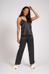Ladies Luxury Black & White Spots Satin Cami Top Long Pyjamas