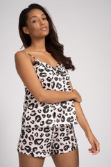 Ladies Luxury Blush Leopard Satin Cami & Shorts Pyjamas