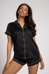 Ladies Luxury Plain Black Satin Short Sleeve Shirt Short Pyjamas