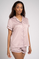 Ladies Luxury Plain Mink Satin Short Sleeve Shirt Short Pyjamas