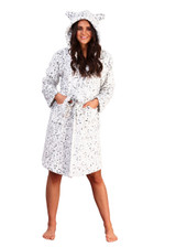 Ladies Snow Leopard Luxury Flannel Fleece Hooded Bath Robe
