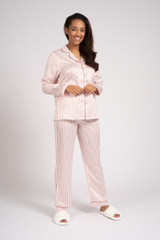 Ladies Luxury Pink & Wine Stripe Satin Traditional Long Pyjamas
