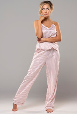 Ladies Luxury Pink & Wine Stripe Satin Cami Top Long Pyjamas