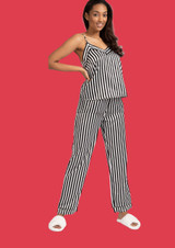 Ladies Luxury Black & White Stripe Satin Cami Top Long Pyjamas