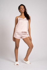 Ladies Luxury Pink & Wine Stripe Satin Cami & Shorts Pyjamas