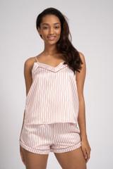Ladies Luxury Pink & Wine Stripe Satin Cami & Shorts Pyjamas