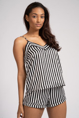 Ladies Luxury Black & White Stripe Satin Cami & Shorts Pyjamas