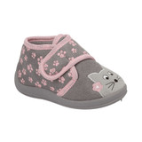 Jo & Joe Toddler Girls Kitty Paw Print Grey Ankle Bootie Slippers