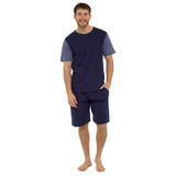 Mens Contrast Sleeve Top & Plain Bottoms Jersey Short PJs Set: Blue