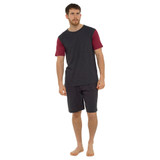 Mens Contrast Sleeve Top & Plain Bottoms Jersey Short PJs Set: Grey