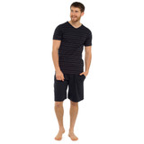 Mens Striped SS Top & Plain Bottoms Jersey Short PJs Set: Black