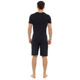 Mens Striped SS Top & Plain Bottoms Jersey Short PJs Set: Black