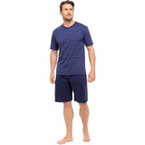 Mens Striped SS Top & Plain Bottoms Jersey Short PJs Set: Blue