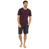 Mens Striped SS Top & Plain Bottoms Jersey Short PJs Set: Wine