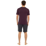 Mens Striped SS Top & Plain Bottoms Jersey Short PJs Set: Wine